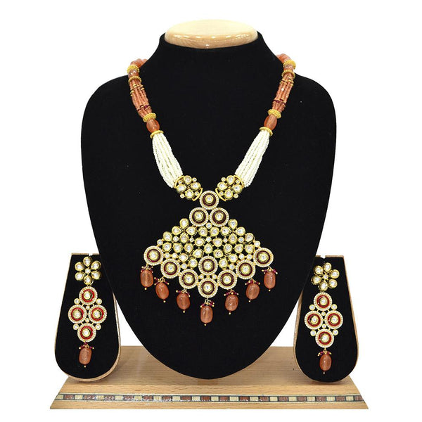 Emerald Kundan Pendent Mala Set With Touch Of Ad, Orange Beads And White Pearl - Ejkm0008