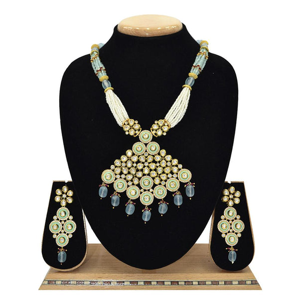 Emerald Kundan Pendent Mala Set With Touch Of Ad, Mint Blue Beads And White Pearl - Ejkm0009