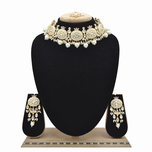 Emerald White Kundan & Pearl Minakari Necklace Set - EJKM0051
