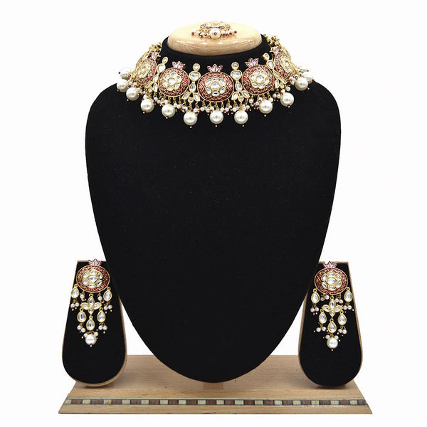Emerald Maroon Kundan & Pearl Minakari Necklace Set - EJKM0052