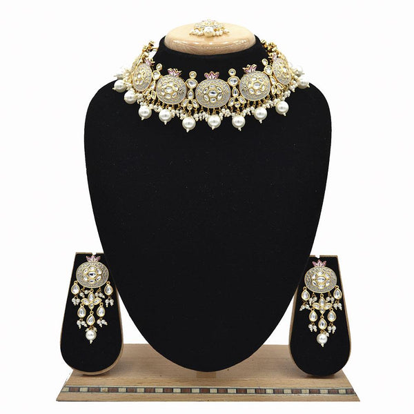Emerald Grey Kundan & Pearl Minakari Necklace Set - EJKM0053