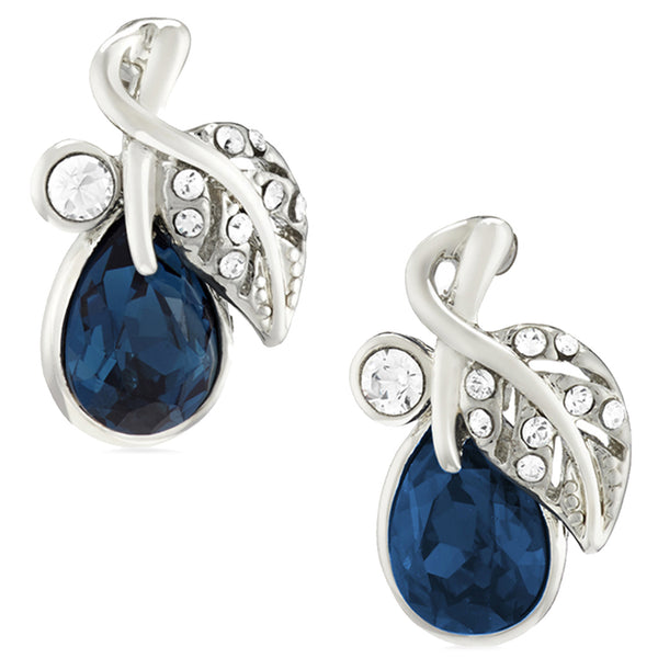 Mahi Rhodium Plated Valentine Gift Montana Blue Berry Crystal Stud Earrings For Women