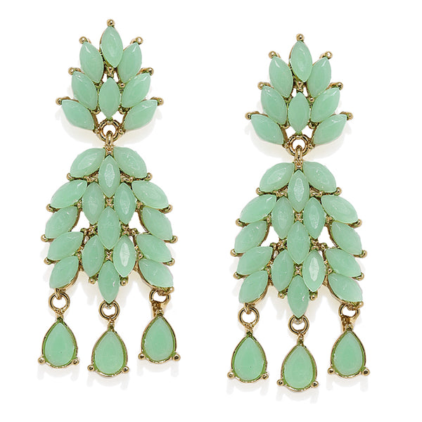 Mahi Gold Plated Eternal Love Dangler Earrings with mint green crystals
