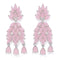 Mahi Rhodium Plated Exquisite mint pink crystals dangler earrings for girls and women