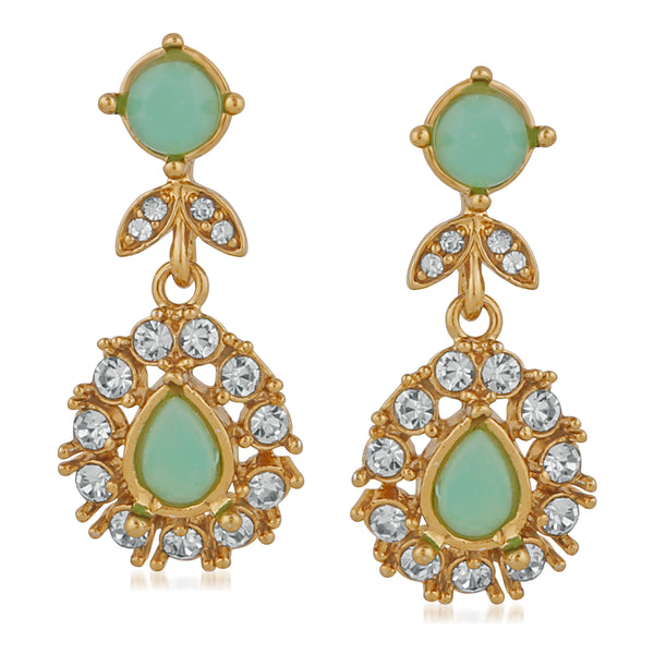 Mahi Gold Plated Stylish Carrot green crystals dangler earrings for girls and women