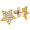 Mahi Gold Tone Star Shaped Stud Earring with White Crystals for Women (ER1109664G)