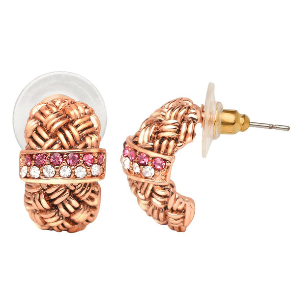 Mahi Rose Gold Plated Half Bali Style Earrings with Pink & White Crystals for Women (ER1109665Z)