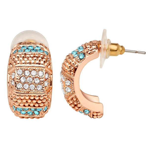 Mahi Rose Gold Plated Half Bali Style Earrings with Blue & White Crystals for Women (ER1109666Z)