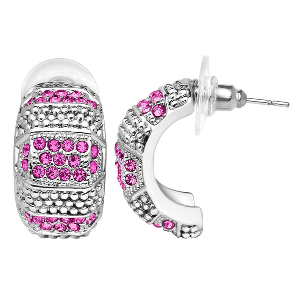 Mahi Half Bali Style Earrings with Pink & White Crystals for Women (ER1109667R)