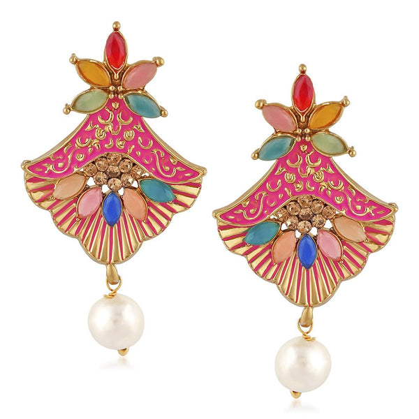 Mahi Meenakari Work Floral Dangler Earrings with Crystal and Artificial Pearl for Womens (ER1109671G)