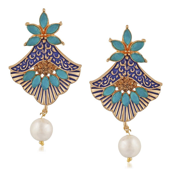 Mahi Meenakari Work Rosegold Plated Floral Dangler Earrings with Crystal and Artificial Pearl for Womens (ER1109672Z)
