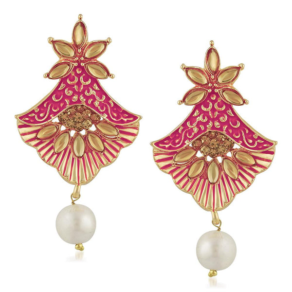 Mahi Meenakari Work Floral Dangler Earrings with Crystal and Artificial Pearl for Womens (ER1109673G)
