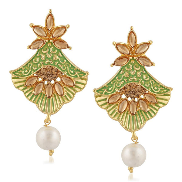 Mahi Meenakari Work Floral Dangler Earrings with Crystal and Artificial Pearl for Womens (ER1109674G)