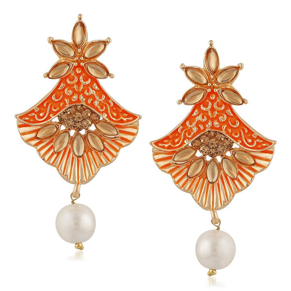Mahi Meenakari Work Rosegold Plated Floral Dangler Earrings with Crystal and Artificial Pearl for Womens (ER1109675Z)