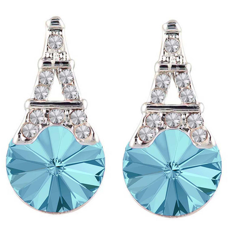 Mahi Valentine Gift with Crystal Amethyst Aqua Blue Eiffel Tower Love Earrings and girls