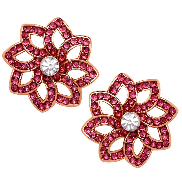 Mahi Rose Gold Plated Pink Crystal Classic Floral Love Stud Earrings for Women (ER1193762Z)