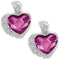 Mahi Valentine Gift Rhodium Plated Fushia Purple Heart Earrings Made with Swarovski Crystals
