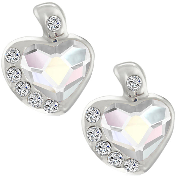 Mahi Valentine Gift Rhodium Plated White AB Heart Earrings Made with Swarovski Crystals