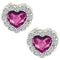 Mahi Valentine Gift Rhodium Plated Fushia Purple Titanic Heart Earrings Made with Swarovski Crystal