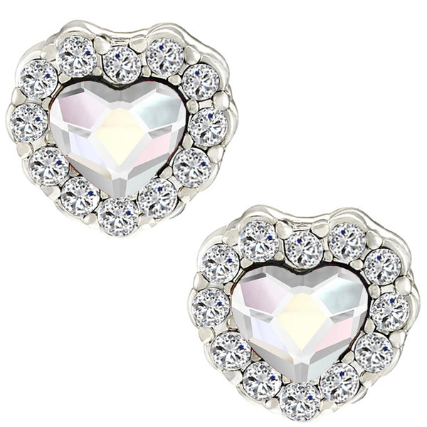Mahi Valentine Gift Rhodium Plated White AB Titanic Heart Earrings with Swarovski Crystals