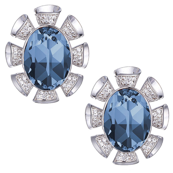 Mahi Valentine collection Montana Blue Solitaire Swarovski Crystal Earrings