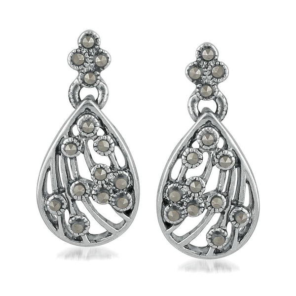 Mahi Pear shaped Designer Swarovski Marcasite Dangler Earrings