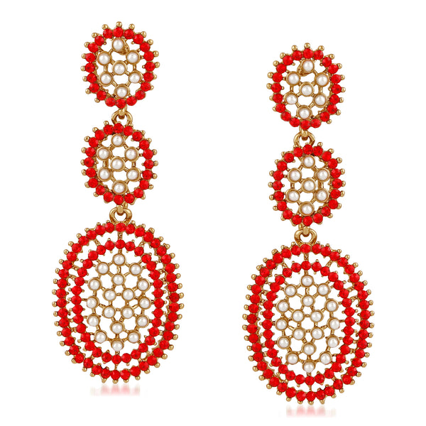 Mahi Gold Plated Alluring multicolour Crystal Dangler Earrings for girls and women