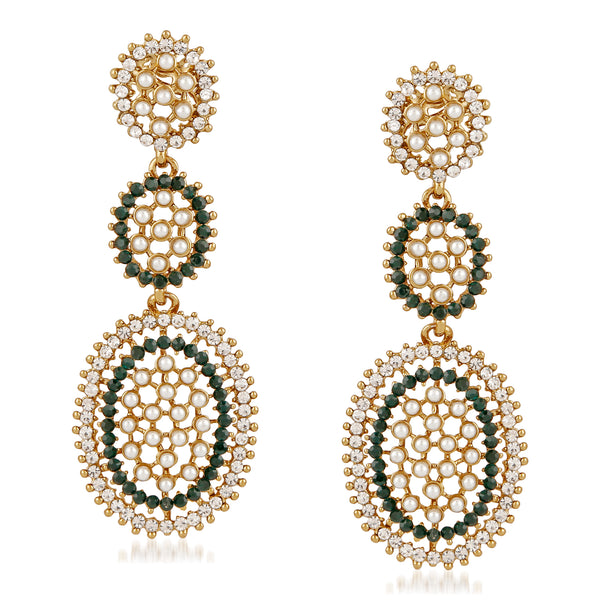 Mahi Gold Plated Ethnic multicolour Crystal Dangler Earrings for girls and women