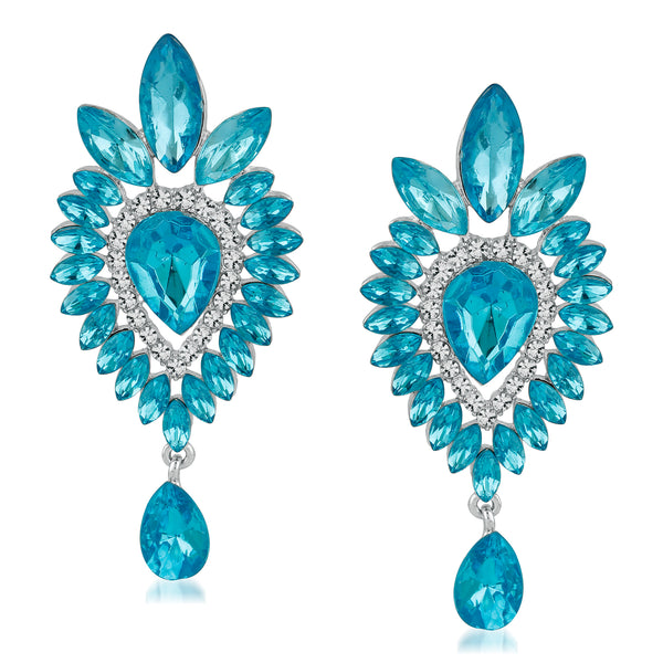 Mahi Rhodium Plated Traditional blue Crystal Dangler Earrings for girls and women