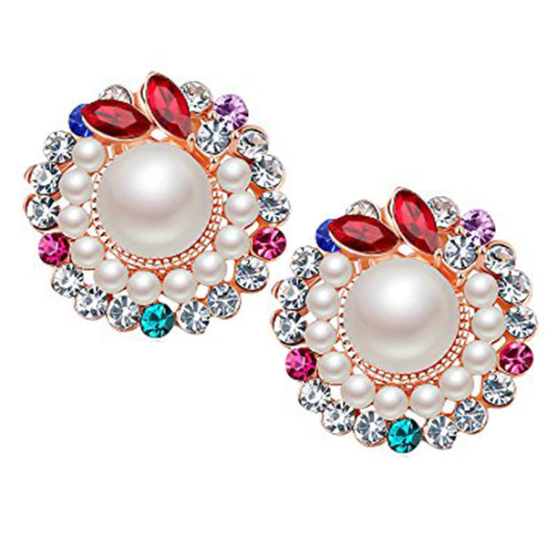 Mahi Crystal Sparkling Colors Flawless Pearl Designer Stunning Rose Gold Stud Earrings /Girls