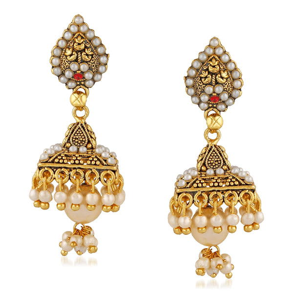 Mahi Gold Plated Elegant Jhumka Earrings with artificial beads for girls and women