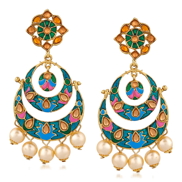 Mahi Gold Plated Enchanting multicolour Meenakari Earrings with artificial beads