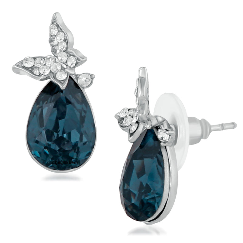 Mahi Rhodium Plated Exclusive Montana Blue and White Crystals Butterfly Stud Earrings