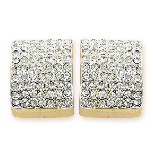 Estele 24Kt Gold And Silver Plated White Austrian Crystal Studded Small Earrings