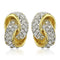 Estele 24Kt Gold And Silver Tone Plated White Austrian Crystal Stond Round Stud Earrings