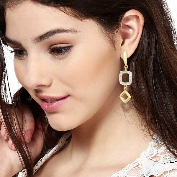 Estele 24Kt Gold And Silver Plated Long Squareish Earrings