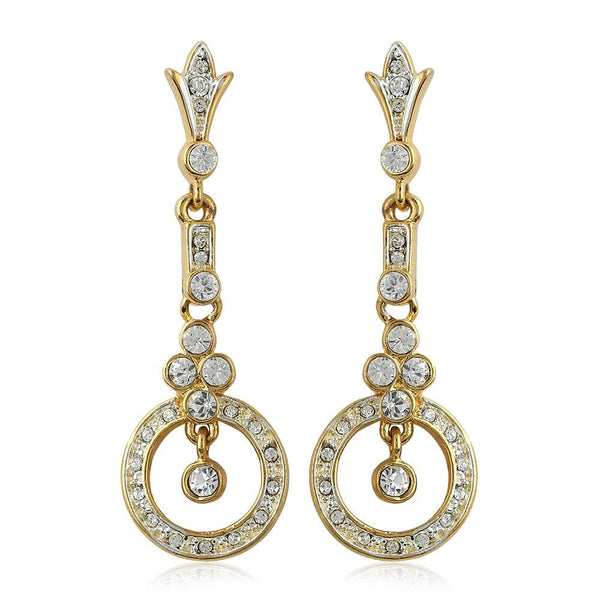 Estele 24Kt Gold And Silver Plated White Stone Crystal Chandelier Dangle & Drop Earrings