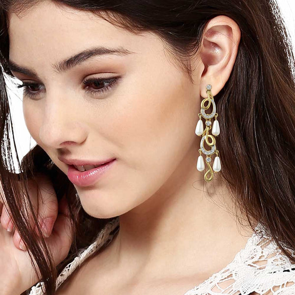 Estele 24Kt Gold And Silver Plated White Austrian Crystal With Faux Pearl Drop Earrings