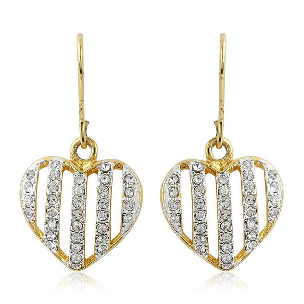 Estele 24Kt Gold And Silver Plated White Austrian Crystal Heart Shaped Hanging Earrings