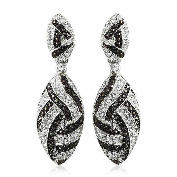 Estele Rhodium Plated Dawn And Dusk Earrings
