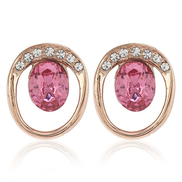 Estele 24Kt Rose Gold Tone Plated With Pink Swarovski Stone Earring