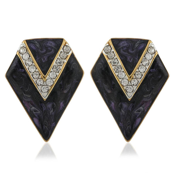 Estele 24Kt Gold Plated Stud Earrings With Grey Colour Enamel Embellished With Ad Stones