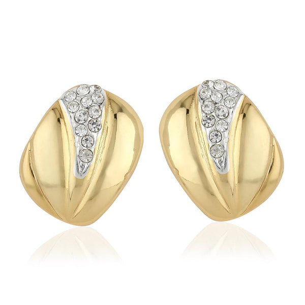 Estele 24Kt Gold And Silver Plated Square Shape With Austrian Crystal Stud Earrings