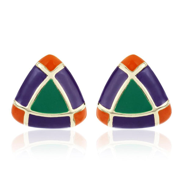Estele Imitation Gold Tone Plated Fancy Earrings With Multicolor Enamel Triangle Shaped Studs