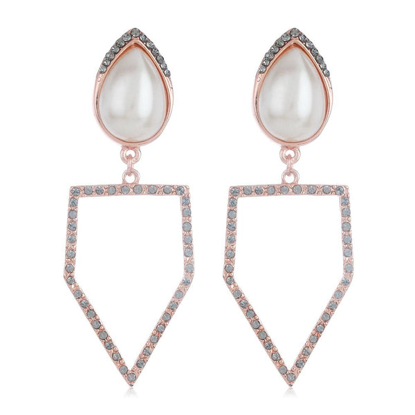Estele Imitation Rose Gold Tone Plated Pearl Dangling White Austrian Crystal Earrings