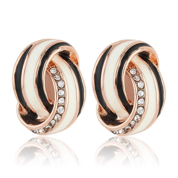 Estele 24Kt Rose Gold Tone Plated Black And White Enamel With Austrian Crystal Stone Stud Earrings