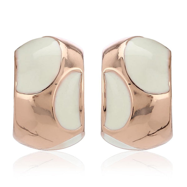 Estele Collection 24Kt Rose Gold Plated White Enamel Pretty Stud Earrings