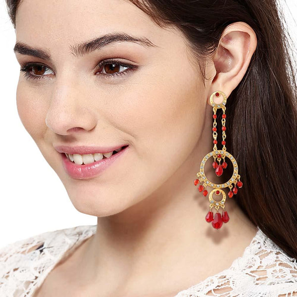 Estele Imitation Gold Plated Fancy Earrings With Red Beads & Austrian Crystal In White Alloy Metal