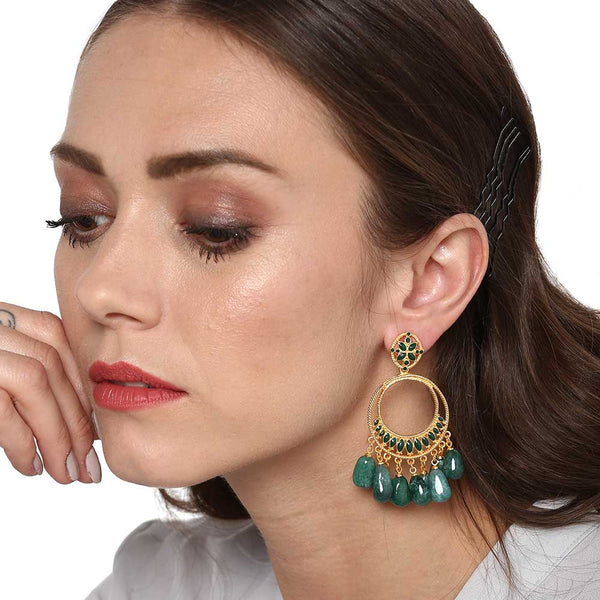 Estele Rose Gold Plated Emerald Green Beads Earrings