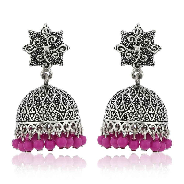 Estele Oxidised Silver Plated Traditional Jhumki With Pink Beads Drop Earrings